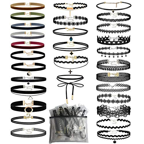 56 PCS Choker Necklace, K&Q Classic Stretch Colorful Gothic Collar Choker Necklace and Black Cute Lace Velvet Choker Necklace Set for Girls and Women