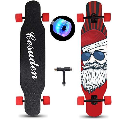 NDRIMAX Longboard Skateboard, 41 Inch Complete Longboard Cruiser Skateboard with Flashing Wheels for Adults Beginners Girls Boys Teens-Longboard Skateboards for Carving,Free-Style and Downhill