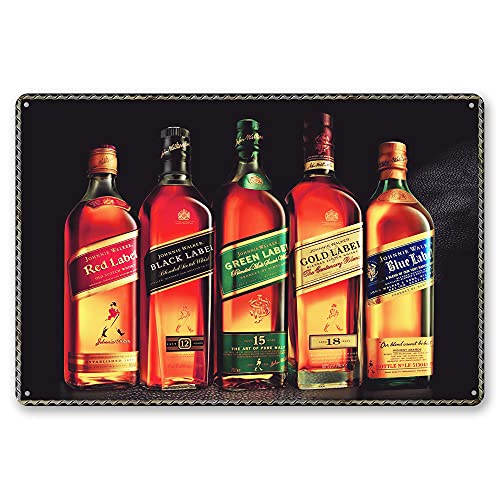MMOUNT Johnnie Walker Metal Poster Plate Whiskey Tin Sign Vintage Style Wall Ornament Coffee & Bar Decor Sign 8X12Inch