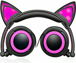 Hype Cat Ears LED Headphones with mic (PINK) with IN-LINE Microphone