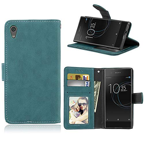Sangrl Lederhülle Schutzhülle Für Sony Xperia XA1 / Z6, PU-Leder Klassisches Design Wallet Handyhülle, Mit Halterungsfunktion Kartenfächer Flip Hülle Blau
