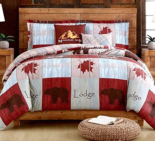 LODGE TRAIL Autumn Maple Leaves Cabin Bear Patchwork and Plaid Comforter, (2)-Pillow Shams & 2 Decorative TOSS Pillows! (5pc King Size (102