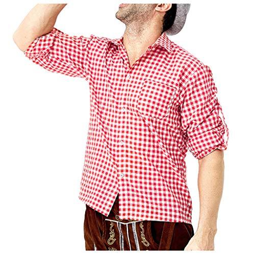 LSAltd Fashion Men Beer Festival Beliebte Classic Plaid Revers Kragen Langarm-Shirt Casual Button V-Ausschnitt Bluse Top