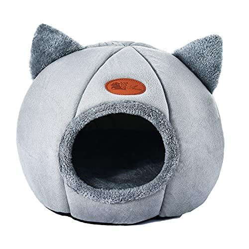 Bverionant Nido Cueva para Perros Gatos con Cojín Extraíble y Lavable, Cama Casa para Mascotas Cachorros de Felpa Corta Cálido para Invierno