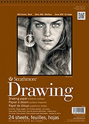 Strathmore 400-8 18-Inch by 24-Inch Drawing Medium Paper Pad, 24-Sheet