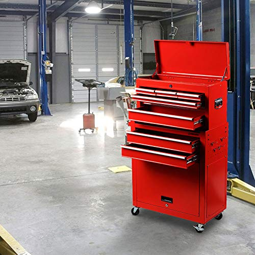 INTERGREAT Rolling Tools Chest with Drawers Tools Storage Chest for Garage Toolbox Chest on Wheels 8-Drawer Tool Storage Cabinet Steel Red