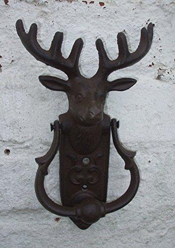 Dekorativer Türklopfer, HIRSCH, Geweih, Hirschkopf, Türklingel, Gusseisen