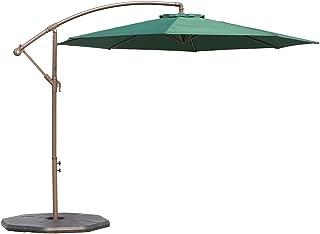 Le Papillon 10-ft Offset Hanging Patio Umbrella Aluminum Outdoor Cantilever Umbrella Crank Lift, Green