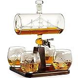 Crazyfly World Explorer - Decantador con 4 vasos de cristal, diseño de vela con forma de vela de whisky, 1100 ml, regalo para papá, marido, novio