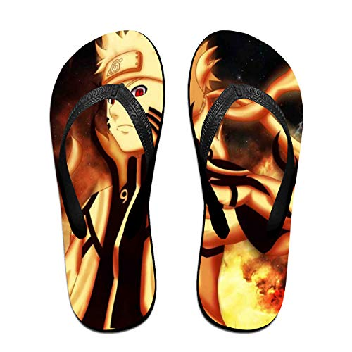 Naruto Anime Flip Flops Beach Sandals Thong Slippers for Indoor Outdoor Bathroom Shower Black