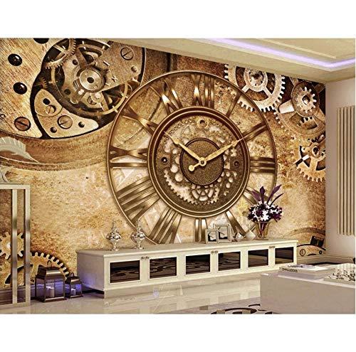 Benutzerdefinierte Fototapete 3D Wallpaper Retro Gang Uhr Hintergrund Wand Wohnkultur Wohnzimmer 3D Wandbilder Wallpaper für Wand 3 d-140X100CM