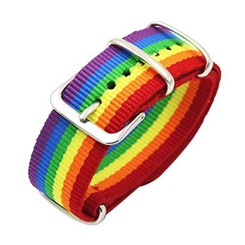 Rainbow Bracelets LGBT Pride Gay Nylon Hebilla, Pulsera Ajustable para Hombres y Mujeres