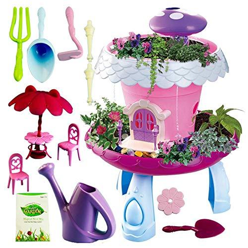 heling896 DIY Miniature Foggy Magical Mushroom Cottage Garden Set de Jeu avec Brume, Fonctions Lumineuses et Mini Accessoires de Jardinage Inclus - Idéal pour Les Enfants