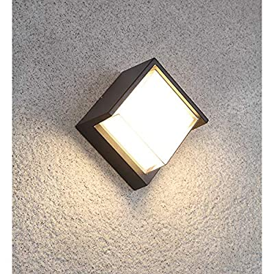 Pathson Outdoor Wall Sconce 8W LED Lamps Waterproof Indoor Modern Low Profile Lighting Fixtures 3000K Warm White Wall Mount Light for Porch Courtyards Matte Black Finish