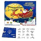 Calendario de Adviento Navidad 2020, Calendario Navideño con 24 Días Sorpresa 24 Piezas Rompecabezas Metal, Calendario de Cuenta Regresiva de Navidad para Niños