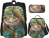 Bass Fish Mochila Bookbags Set con bolsa de almuerzo Estuche de viaje