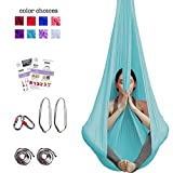 Aum Active Aerial Yoga Hammock - Include Aerial Silk Fabric, Carabiners, Extension Straps, 30-Day Pose Guide - Premium Yoga Swing for Antigravity Exercises, Inversion & Sensory Therapy (Light Blue)