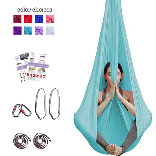 Fantastic Deal! Aum Active Aerial Yoga Hammock - Include Aerial Silk Fabric, Carabiners, Extension S...