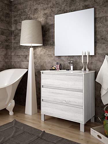 Aquore   Mueble de Baño con Lavabo y Espejo   Mueble Baño Modelo Balton 3 Cajones con Patas   Muebles de Baño   Diferentes Acabados Color   Varias Medidas (Hibernian, 100 cm)