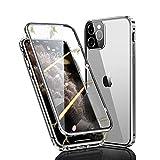 Ellmi Funda para iPhone 11 Pro, Adsorción Magnética Parachoques de Metal con 360 Grados Protección Case Cover Transparente Ambos Lados Vidrio Templado Cubierta para iPhone 11 Pro (Plata)