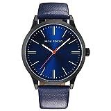 MHCYKJ - Reloj de pulsera de cuarzo para hombre, correa de piel, color azul