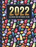 2022 Calendar and Notebook In One: 8.5x11 Monthly Planner with Note Paper Combo / Colorful Healing C...