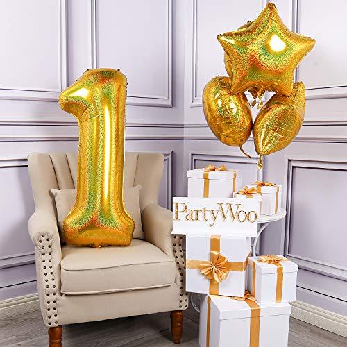 PartyWoo Zahlen Luftballon, Folienballon 1, 40 Zoll Riesen Luftballons, XXL Luftballon, Luftballons Geburtstag, Ballons Geburtstag, Geburtstagsdeko, Geburtstag Deko für Geburtstag (Gold, 5 Stück)
