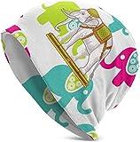 DHGFH Gorro de Punto Foliage Cute Colorful Elefants Patterns Beanie Hat Lightweight Baggy Slouchy Elastic Turban for Men and Women,Confinement Cap Headwraps