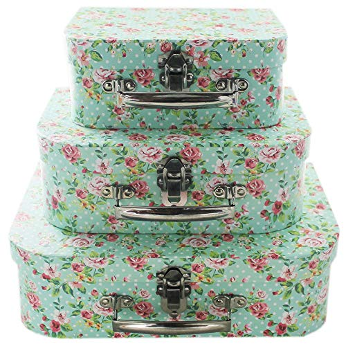 Paper place Rose Print Storage Suitcases - Set Of 3