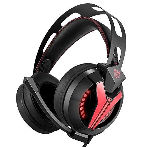 ZENWEN Computer Spiele Kopfhörer Kopfhörer Light Version Kabel Rauschen schweren Bass Stereo-elektronische Internet Cafémicrophone (schwarz A ND rot)
