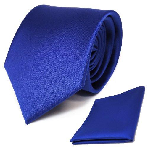 TigerTie Designer Krawatte Einstecktuch in blau royalblau einfarbig uni