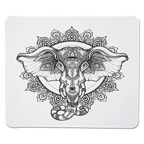 Elefant-Mandala, Heiliger indischer Glaube Tierkopf mit geblümten Stammes-ethnischen Details, Schwarzweiß, genähter Rand, Rutschfester Gummi