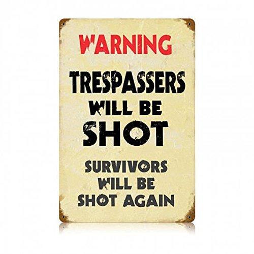 Cartel de metal vintage 2nd Amendment Warning No Trespassing Firearm 12x16 Man Cave.