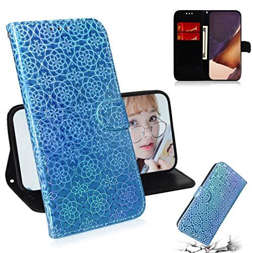 Funda de piel para Samsung Galaxy Note 20 Ultra Sólido Color Colorido Hebilla magnética Horizontal Flip PU Funda de cuero con soporte y ranuras para tarjetas y cordones y cordones ( Color : Sky Blue )