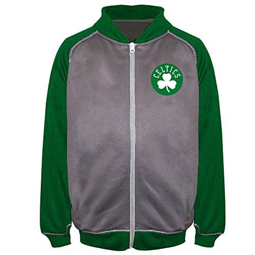 NBA Boston Celtics Poly Fleece Raglan Track Jacket, Char/Kelly, 5X
