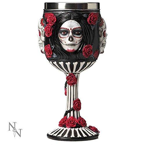 Nemesis Now - Copa (19,5 cm), diseño de Calavera de azúcar, Color Negro, Resina con Inserto de Acero Inoxidable, Talla única