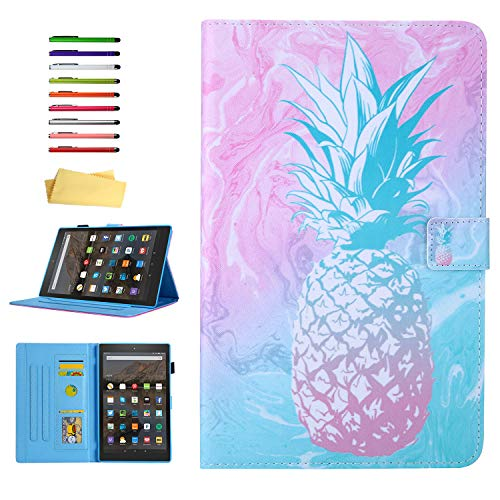 UUcovers Case for Amazon Kindle Fire HD 8 Tablet (8th/7th/6th Generation, 2018/2017/2016), Smart Auto Sleep/Wake PU Leather Magnetic Wallet Cover with Card Pocket Stylus/Pencil Holder, Pink Pineapple