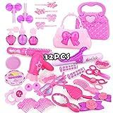 DIVISTAR Juego de juguetes de maquillaje para niños, juego de maquillaje rosa princesa peluquería simulación juguete plástico para niñas vestir cosméticos - 30 piezas - 1 juego