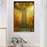 wzgsffs Empire State Building Art Deco Gold Poster Wand