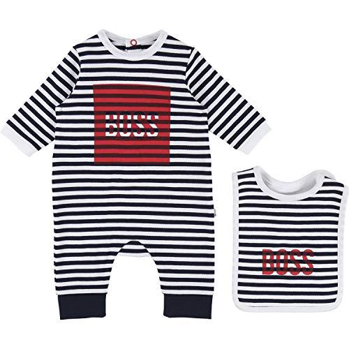 Hugo Boss Baby Kombination Strampler Und Lätzchen Für Kleine Junge Im Geschenkkarton blau rot Gr. 6 Monate