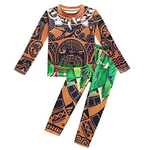 Lito Angels Disfraz de Vaiana Maui para Niños, Ropa Casual Sudadera y Pantalón Pijamas Dos Piezas, Talla 2-3 años, B