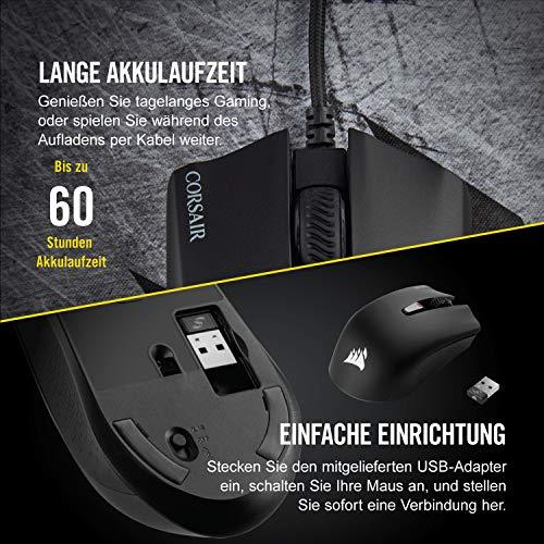 Corsair Harpoon Kabellose RGB Wiederaufladbare Optisch Gaming-Maus (mit SLIPSTREAM Technologie, 10.000DPI Optisch Sensor, RGB LED Hintergrundbeleuchtung) schwarz - 5