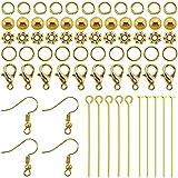 TOAOB 370 Piezas Tono Dorado Jewelry Making Kit Gancho Pendientes y Anillo de Salto Abierto y Alfileres Cabeza y Espaciadoras para Joyería Confección Reparación de Collares Pulseras