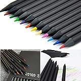 Passbeauty, 12 matite Colorate in Legno per disegnare e disegnare, Colore: Nero