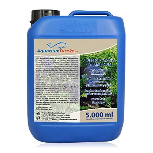 AquariumDirekt Flüssiges AKTIV Filtermedium (GRATIS Lieferung in DE - Der Wasseraufbereiter entfernt Schadstoffe, Medikamente, Schwermetall und Chlor für Süß- und Seewasser Aquarium), Größe:5 L
