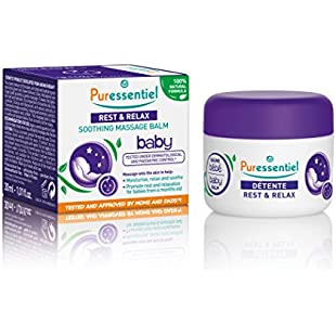 Puressentiel Rest & Relax Baby Soothing Massage Balm, 30 ml - Moisturize, Relax, Soothe and Prepare Babies for Sleep - 100% Natural - Pure Oils - Tested Under Dermatological and paediatrical Control:Animalnews