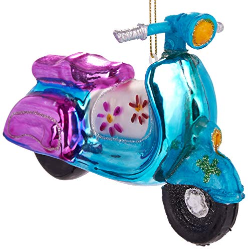 Brubaker Motorroller Retro Bunt - Handbemalte Weihnachtskugel aus Glas - Mundgeblasener Christbaumschmuck Figuren lustig Deko Anhänger Baumkugel - 13.5 cm