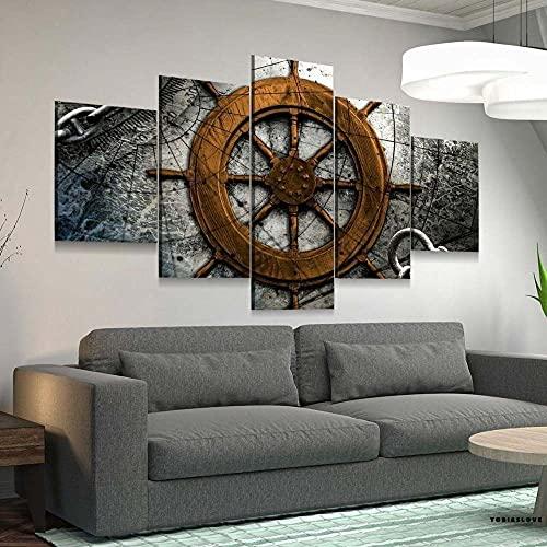 WKXZZS Cuadros Decoracion Dormitorios 5 Piezas 150x80cm - Cuadro sobre Lienzo - Impresión En Lienzo Montado sobre Marco De Madera - Collage náutico Vintage