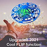 Mini Drone for Kids UFO(Blue) Hand Operated Quadcopter for Kids, for Boys or Girls, UFO Flying Boomerang, Helicopter Flying Toy for Beginners Age 4 Year Old - OLEGOWO
