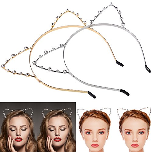 Katzenohren Haarreif Haarband, ETEREAUTY Kristall Strass Metall Katze Ohr Stirnband Haarreif für Halloween Karneval Kostüm Cosplay Party 2 Stück Gold und Silber